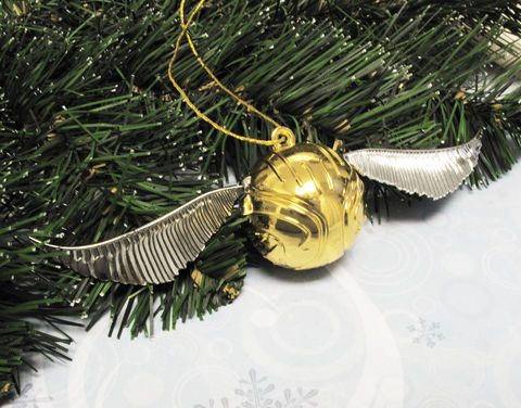 Golden,Snitch,Christmas,Ornament,golden snitch, christmas ornament, decoration, xmas, harry potter, quidditch, gold ball with wings, flying ball, gold and silver