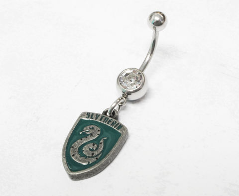 Harry,Potter,Slytherin,Belly,Ring,slytherin, belly button ring, harry potter, houses, house charm, navel barbell, geek chic, nerdy, serpentard
