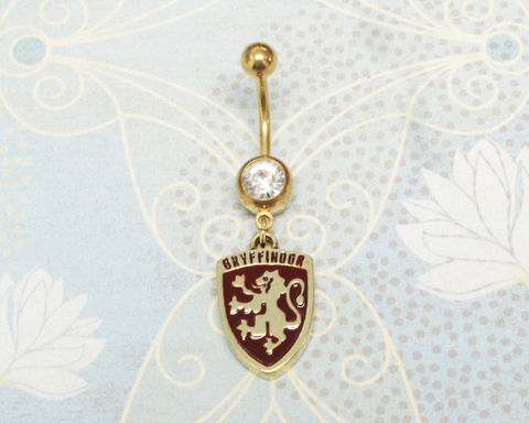 Harry,Potter,Gryffindor,Belly,Ring,gryffindor, belly button ring, harry potter, houses, house charm, navel barbell, geek chic, nerdy, gryphondor