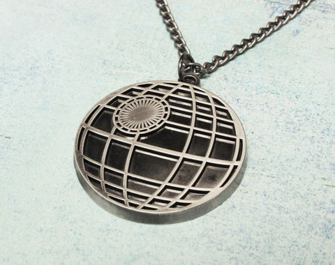 Death,Star,Necklace,,large,star wars, death star, necklace, pendant, statement, mens, mens jewelry, long chain, pewter, black, geeky, nerdy