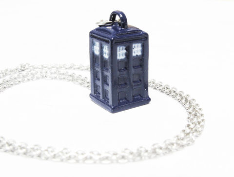 Doctor,Who,TARDIS,Mini,3D,Blue,Necklace,tardis, necklace, pendant, 3D, blue, doctor who, stainless steel, dr who, police box, blue box, small, geeky, nerdy