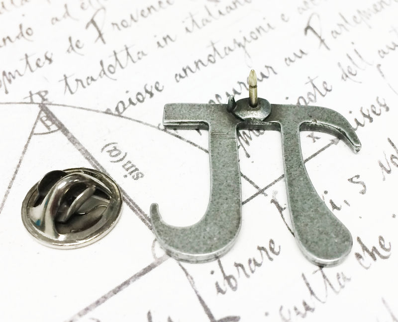 Pi Lapel Pin, tie tack brooch inspired by math pi symbol - product images  of