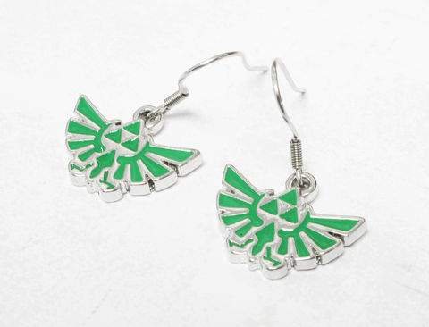 Legend,of,Zelda,Hyrule,Green,Dangle,Earrings,legend of zelda, hyrule, earrings, jewelry, jewellery, triforce, green, hylean, hylian, gamer girl, geek chic