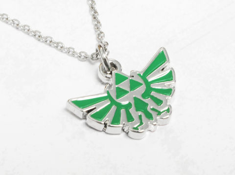 Legend,of,Zelda,Hyrule,Green,Necklace,legend of zelda, hyrule, necklace, pendant, jewelry, jewellery, triforce, green, hylean, hylian, gamer girl, geek chic