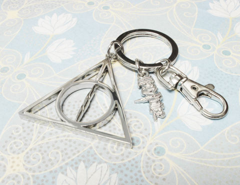 Deathly,Hallows,Large,Key,Chain,deathly hallows, keychain, key chain, keyring, harry potter, silver, large, mens