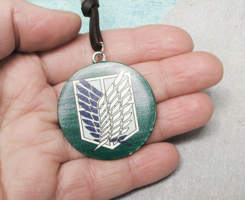Attack on Titan Necklace, wings of freedom medallion - product images  of