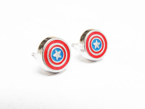 Captain,America,Stud,Earrings,captain america, earrings, studs, stud earrings, mens earrings, geeky, comics, comic book geek, stainless steel, surgical steel