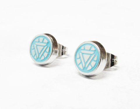 Iron,Man,Arc,Reactor,Stud,Earrings,iron man, earrings, studs, arc reactor, mens, geeky, comic books, marvel, jewelry