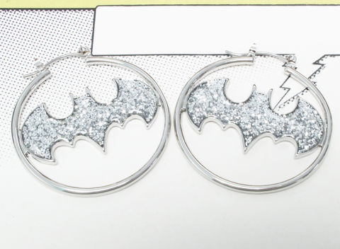 Batman,Hoop,Earrings,,sparkly,silver,batman, hoop earrings, hoops, bling, sparkly, silver, statement, wedding, stainless steel, comic book, geeky, girly