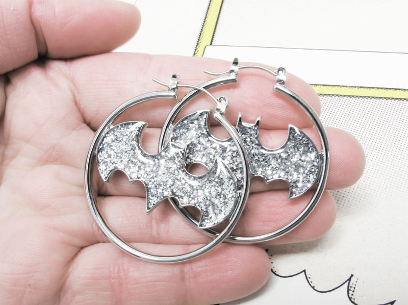 Batman Hoop Earrings, sparkly silver - product images  of