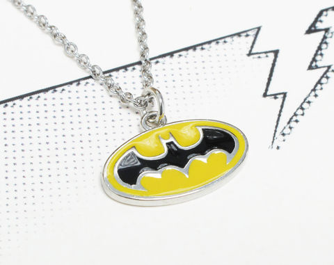 Batman,Classic,Yellow,Logo,Necklace,batman, necklace, classic, pendant, retro, yellow, bat symbol, bat signal, batman logo, comic books, geeky, girl, stainless steel, surgical steel