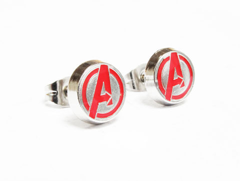 Avengers,Logo,Stud,Earrings,avengers, earrings, studs, stud earrings, mens, stainless steel, comics, comic book, geek