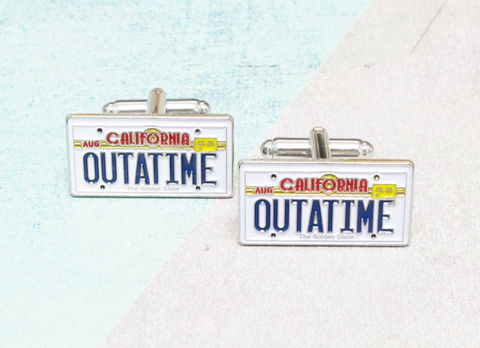 California,License,Plate,Cuff,Links,back to the future, cuff links, cufflinks, outatime, california license plate, enamel, bttf, delorean license plate, geeky