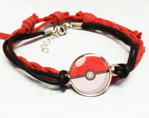 Pokeball,Cord,Bracelet,Set,pokemon, pokeball, braelet, cord, kids, adjustable, red, pokemon go, geeky, nerd girl