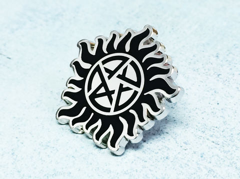 Supernatural,Enamel,Pin,supernatural, enamel pin, spn, antipossession, anti possession, sun and pentagram, join the hunt, geeky, metal pin