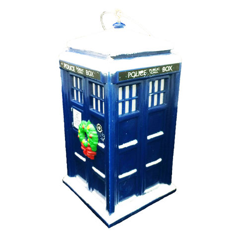 Doctor,Who,TARDIS,with,Wreath,Christmas,Ornament,doctor who, tardis, dr who, ornament, christmas, special, wreath, snow, light-up, t.a.r.d.i.s., police box, blue box, police public call box