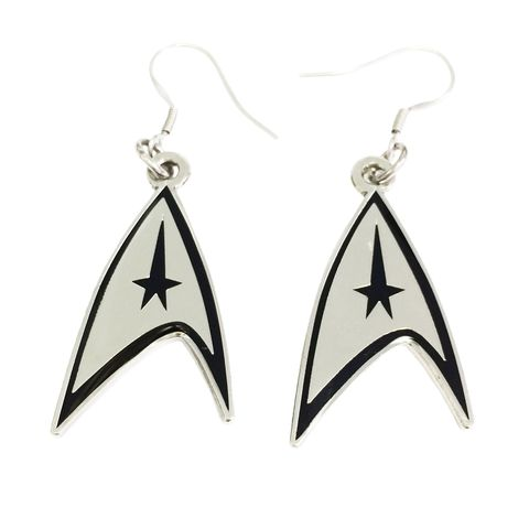 Star,Trek,Insignia,Earrings,star trek, earrings, dangle, drop, insignia, delta, command, silver, trekkie, trekky