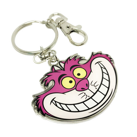 Cheshire,Cat,Colour,Keychain,alice in wonderland, cheshire cat, keychain, disney, classic, pink, colour, enamel, key chain, keyring