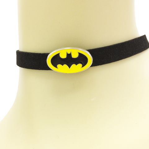 Batman,Yellow,Symbol,Choker,Necklace,batman, choker, necklace, classic, yellow logo, bat symbol, comic books, geeky, jewelry