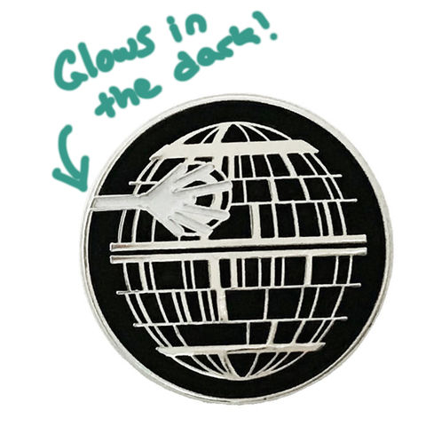 Death,Star,Glow-in-the-Dark,Enamel,Pin,star wars, death star, deathstar, enamel pin, glow in the dark, retro, collectors, lapel pin, tie pin
