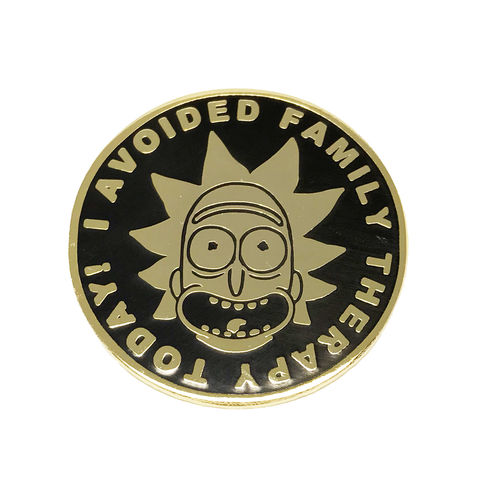 Rick,and,Morty,Pin,I,avoided,family,therapy,today,rick and morty, enamel pin, badge, i avoided family therapy today, gold, collectors, zen monkey studios