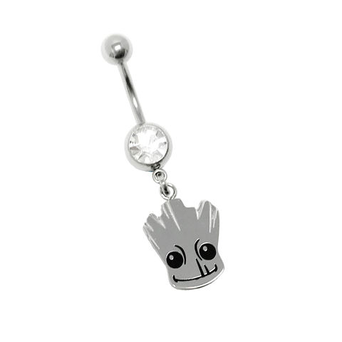 Baby,Groot,Belly,Button,Ring,groot, baby groot, belly button barbell, belly ring, navel ring, barbell, charm, silver, surgical steel, stainless steel, geeky, guardians of the galaxy