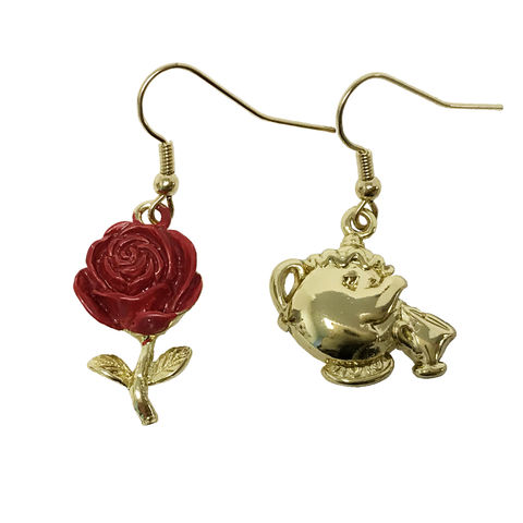 Beauty,and,the,Beast,Mrs,Potts,Chip,/,Rose,Earrings,beauty and the beast, earrings, mrs potts and chip, ms pots, rose, mismatched