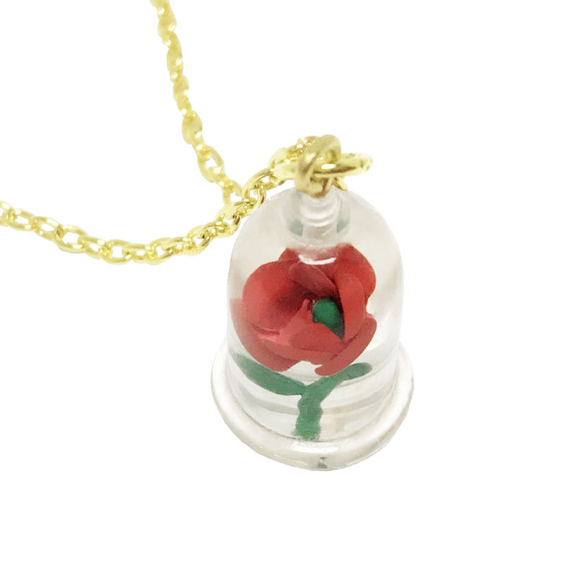 Beauty and the Beast Rose in Bell Jar Necklace - product images  of
