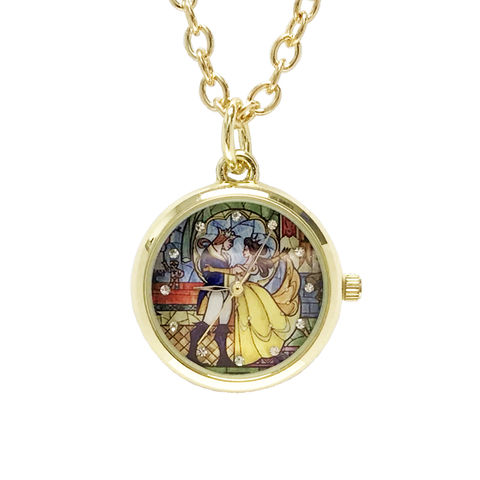 Beauty,and,the,Beast,Watch,Necklace,beauty and the beast, watch, pendant, gold, golden, 3D, la belle et la bete, pocket watch
