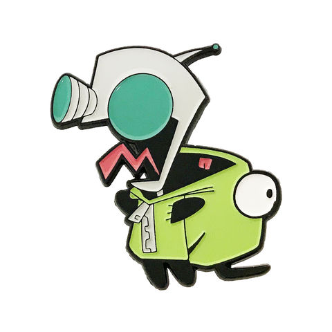 Invader,Zim,Enamel,Pin,,Gir,invader zim, gir, robot, dog costume, unzipped, enamel pin, collectors, badge