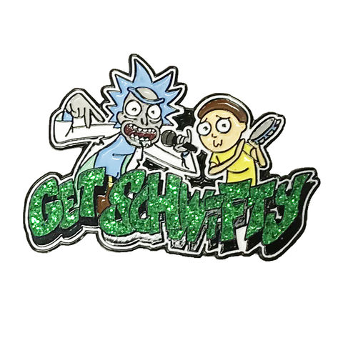 Rick,and,Morty,Get,Schwifty,Pin,rick and morty, enamel pin, badge, get schwifty, get shwifty, collectors, zen monkey studios, glitter