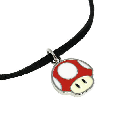 Super,Mario,Red,Mushroom,Thin,Choker,Necklace,super mario, necklace, choker, super mushroom, red mushroom, gamer girl, gamer geek, retro, silver, enamel