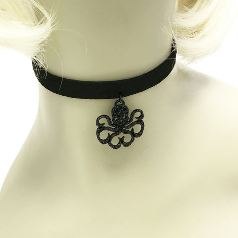 Hydra,Choker,Necklace,agents of shield, s.h.i.e.l.d., hydra, redd skull, comics, choker, necklace, stainless steel, gems, geeky, geek girl, black, sexy