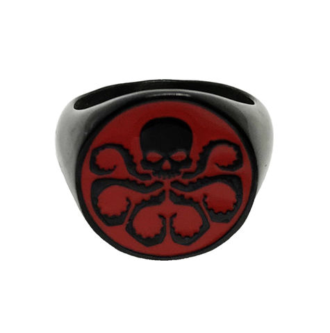 Agents,of,S.H.I.E.L.D.,Hydra,Ring,agents of shield, hydra, ring, mens ring, stainless steel, signet ring, black, red, octopus