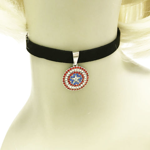 Captain,America,Bling,Choker,Necklace,captain america, choker, necklace, large band, bling, gems, stainless steel, sparkly, fancy