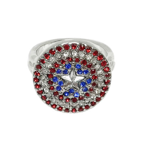 Captain,America,Bling,Ring,captain america, ring, women's ring, stainless steel, avengers, sparkling, sparkle, gems, bling, blingy, geek, cap's shield