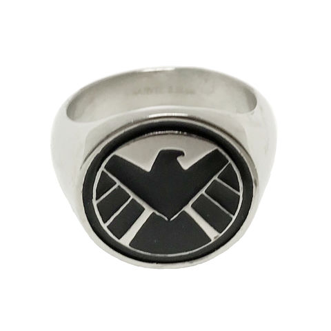 Agents,of,S.H.I.E.L.D.,Stainless,Steel,Ring,agents of shield, ring, mens ring, stainless steel, signet ring, enamel, eagle, men's, chevalière