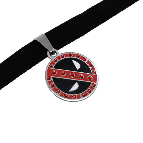 Deadpool,Choker,Necklace,deadpool, choker, necklace, bling, girly, feminine, large, stainless steel, deadpool mask, geek bling