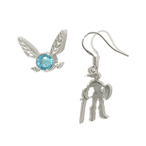Link,and,Navi,Earring,Set,legend of zelda, earrings, navi, link, mismatched, mis-matched, double piercing, cartilage, gamer, geek, girl, silver, blue