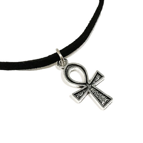 Ankh,Choker,Necklace,ankh, choker, necklace, sandman, death, clef de vie, egyptian, hieroglyph
