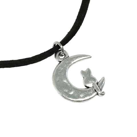 Cat,on,the,Moon,Choker,Necklace,cat, moon, necklace, choker, short, kitty, luna, cat on the moon, crescent moon, silver, sailor moon