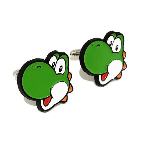 Yoshi,Cuff,Links,super mario, yoshi, cuff links, cufflinks, gamer, geek, wedding, green dinosaur, mariokart