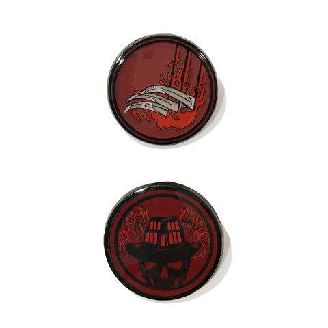 Nightmare,on,Elm,Street,Enamel,Pin,Set,nightmare on elm street, freddy krueger, hat, glove, scratch, claws, horror, enamel pin, colour, metal pin