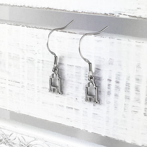 Star,Wars,|,Tiny,R2D2,Earrings,star wars, R2D2, droid, earrings, dangle, drop, subtle, minimal, minimalist, mini, tiny, small, little, stainless steel, hooks