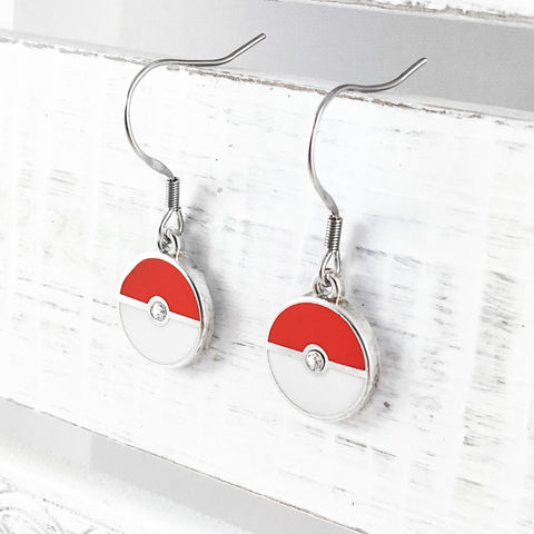 Pokémon,|,Pokéball,Dangle,Earrings,pokemon, pokeball, earrings, dangle, drop, pretty, silver, stainless steel, enamel, colour, bling, gems