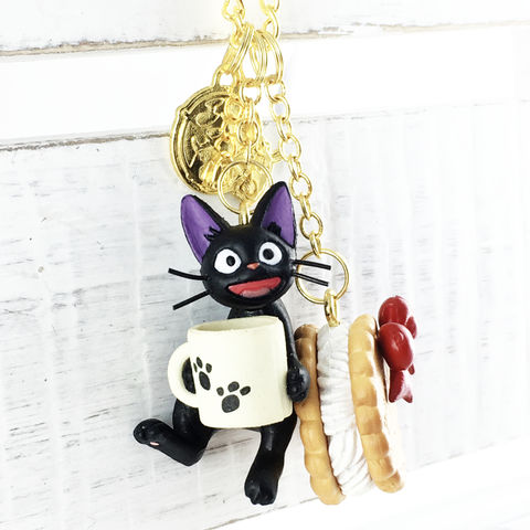Kiki's,Delivery,Service,|,Jiji,Multi-charm,Necklace,kiki's delivery service, jiji, necklace, pendant, charm, black cat, sweets, pastries, long, statement, anime