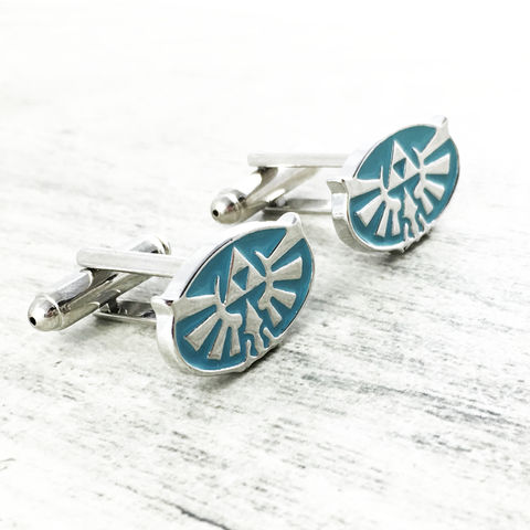 Zelda,|,Blue,Hyrule,Cuff,Links,legend of zelda, hyrule, hylian, sumbol, triforce, blue, breath of the wild, cuff links, cufflinks, gamer, geek