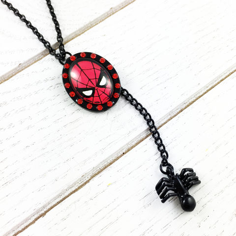 Spiderman,Double,Charm,Necklace, necklace, cameo, charm, black, spider, goth, bling, spider man, unique, geeky, geek girl