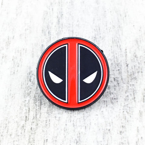 Deadpool,|,Classic,Enamel,Pin,deadpool, enamel pin, classic, face, round, logo, red, black