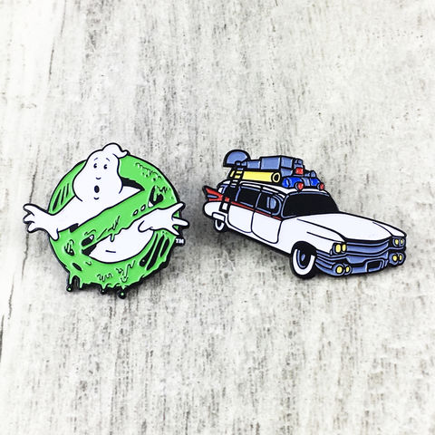 Ghostbusters,Enamel,Pin,Set,ghostbusters, enamel pin, pin set, lapel pin, no ghost, ghost logo, slimed, ecto-1, car, ghostmobile